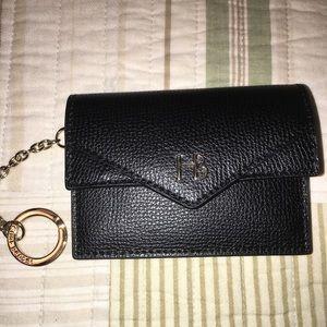 Henri Bender black leather envelope coin purse